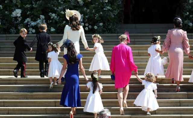 """The Duchess of Cambridge arrives with the bridesmaids at St George""""s Chapel at Windsor Castle"""