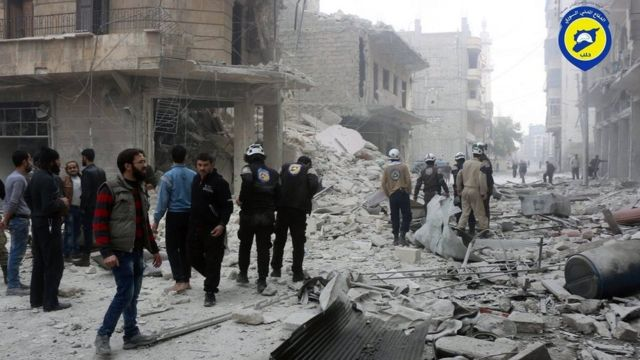 Photograph posted by Syria Civil Defence purportedly showing aftermath of air strike in rebel-held Aleppo (16 November 2016)
