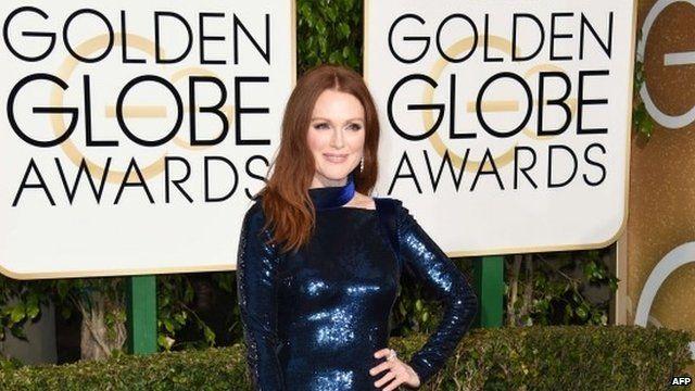 Julianne Moore arrives for the Golden Globe awards