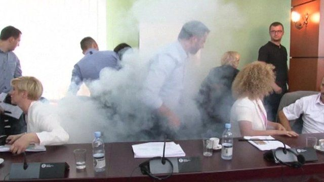 Tear gas during a parliamentary commission meeting in Pristina, Kosovo