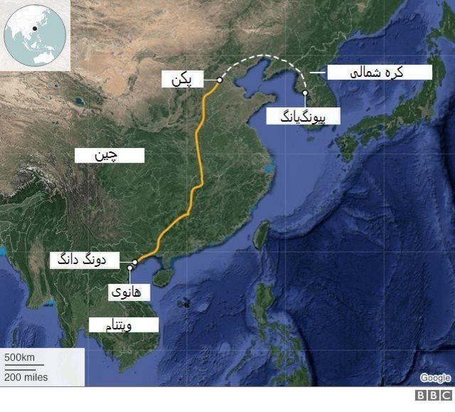 مسیر قطار رهبر کرهشمالی از پیونگیانگ به هانوی