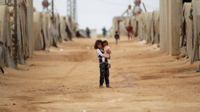 Syrian refugee children in a refugee camp for the internally displaced persons in Jrzinaz area, southern countryside of Idlib, Syria
