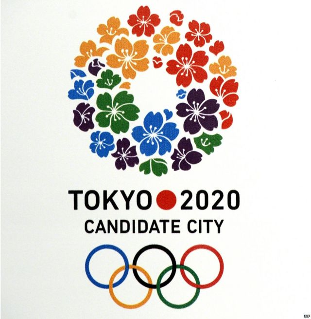 Tokyo 2020 candidate city logo is seen before a press conference given by the International Olympic Committee (IOC) member and President of the Japanese Olympic Committee and Tokyo 2020 Tsunekazu Takeda and the President of Japan Sports Association Fujio Cho in Buenos Aires, Argentina on 4 September 2013 during a session of the IOC Executive Board meeting.