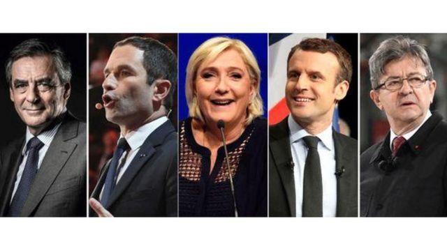 Năm ứng viên chính trong cuộc tuyển cử Tổng thống Pháp (trái sang phải) Francois Fillon, Benoit Hamon, Marine Le Pen, Emmanuel Macron và Jean-Luc Melenchon