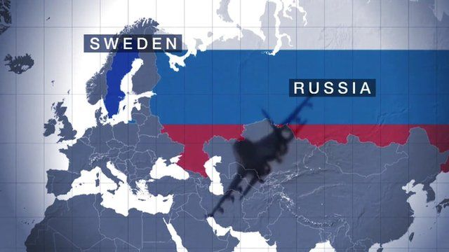 Map showing Sweden and Russia