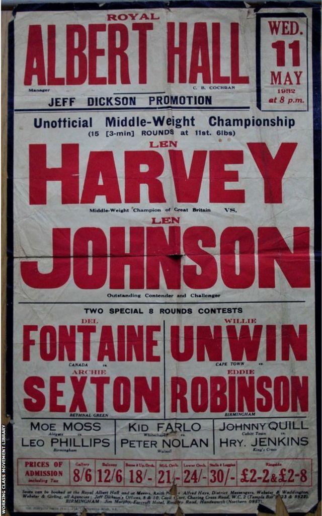 Affiche publicitaire de la lutte de Len Johnson avec Len Harvey au Albert Theatre en 1932