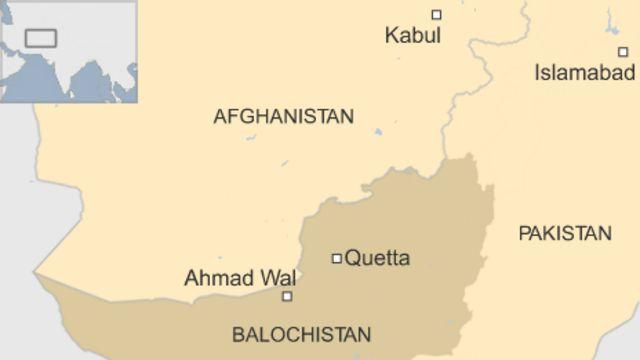 アフガニスタンとパキスタン・バロチスタン州の位置