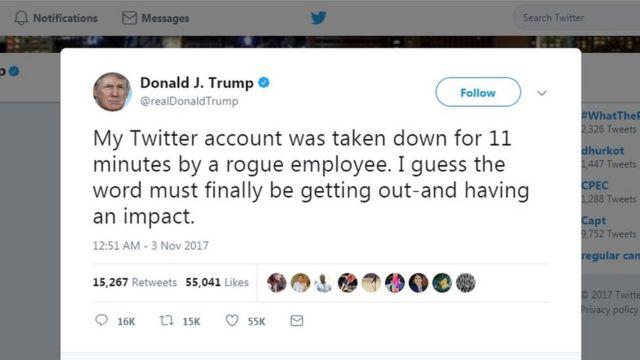 ٹرمپ ٹوئٹر اکاؤنٹ