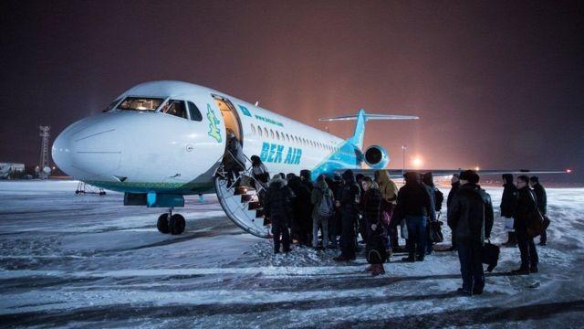 फाइल तस्बिर - कजाखस्तानको राजनधानीबाट उड्न लागेको बेक एअरको एउटा विमान