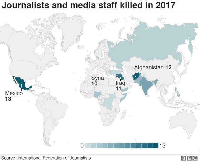 World map showing where the most journalists and media staff were killed in 2017 - with Mexico, Afghanistan, Iraq and Syria particularly highlighted