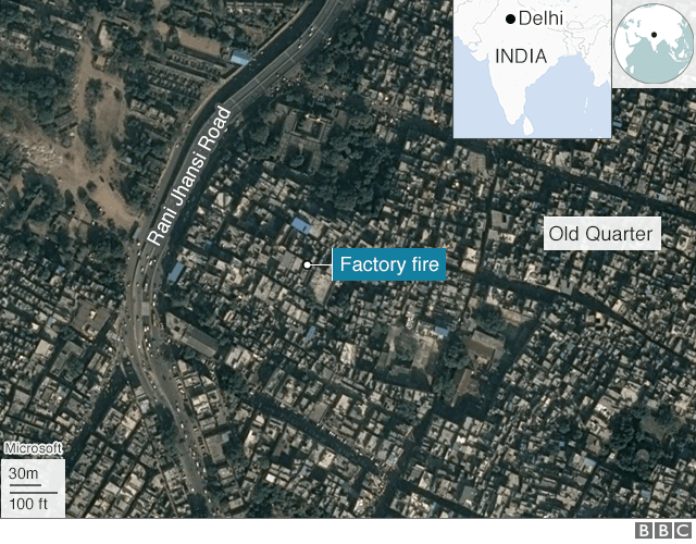 A map of Delhi showing where a factory fire took place