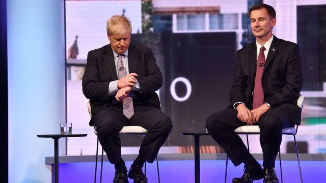 Boris Johnson and Jeremy Hunt at the BBC leaders' debate