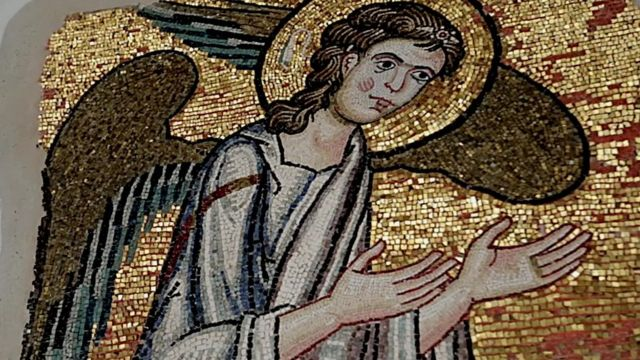 Mosaic of angel uncovered by Italian restoration workers at the Church of the Nativity