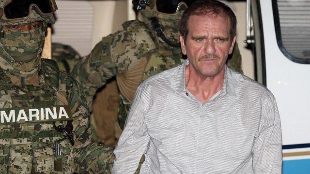 """Héctor Luis Palma Salazar, """"El Güero"""" a su llegada al aeropuerto de la Ciudad de México tras ser entregado por EEUU"""