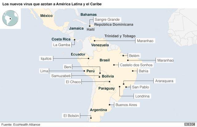 Mapa de los nuevos virus en América Latina