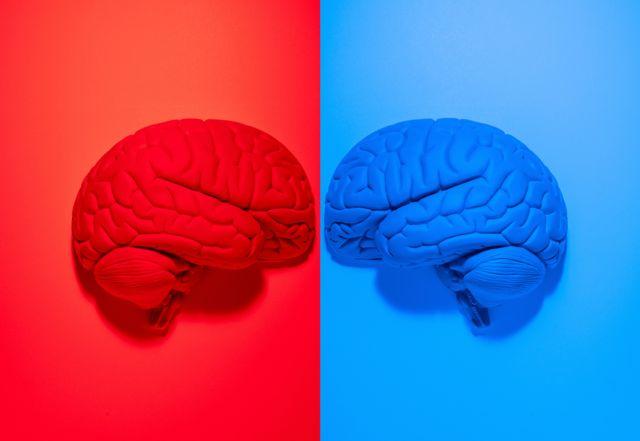 ilustração com cores vermelha e azul