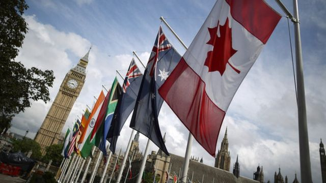Flags Of The Commonwealth Countries Fly On Parliament Square