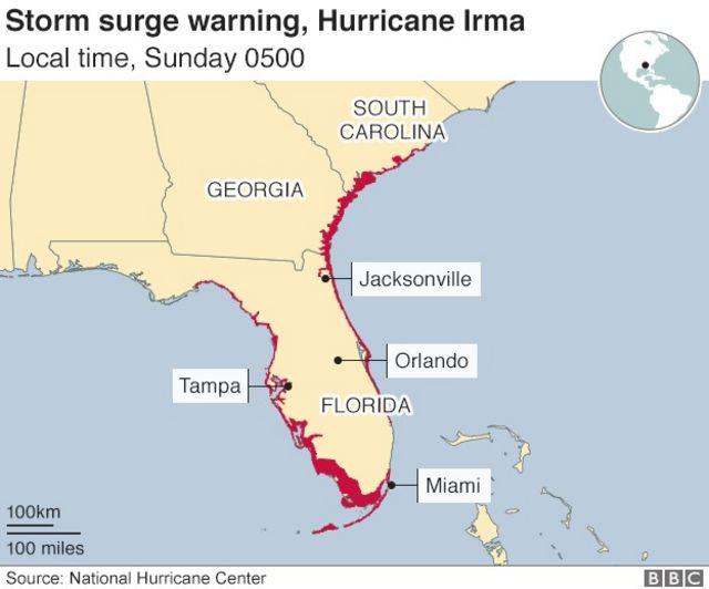 高潮警報の対象地域(現地時間10日午前5時現在)