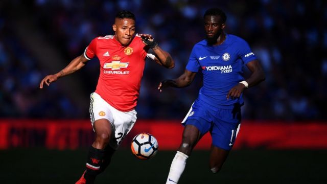 Antonio Valencia of Manchester United is challenged by Tiemoue Bakayoko of Chelsea during The Emirates FA Cup Final