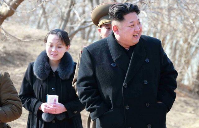 North Korean leader Kim Jong-Un with his sister Kim Yo-Jong