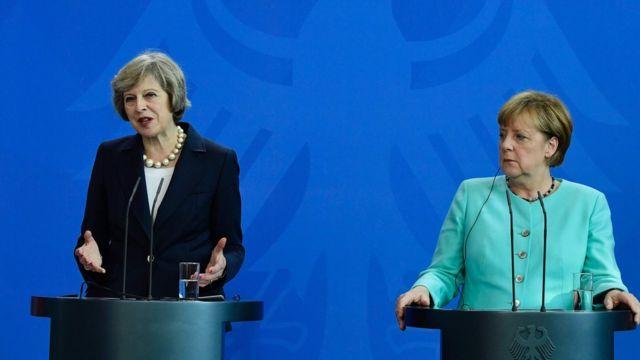 British Prime Minister Theresa May and German Chancellor Angela Merkel.