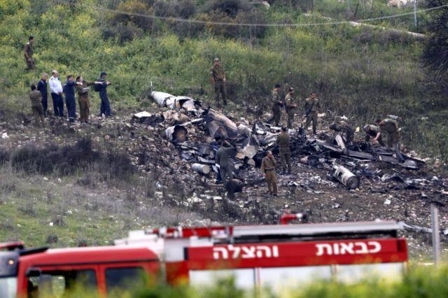 لاشه جنگنده ساقط شده اسرائیلی