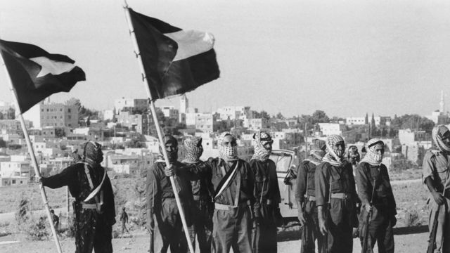Militiamen of El Fatah Palestinian resistance movement, parade in Amman, Jordan, on August 17, 1970 at the end of a training chaired by Yasser Arafat, president of the Central Committee of the Palestinian National Council.