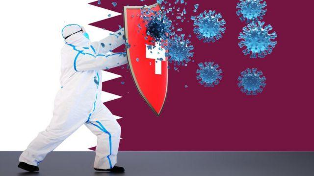 صورة تعبيرية تظهر شخصاً يرتدي بدلة واقية تحجب عنه الفيروسات بدرع