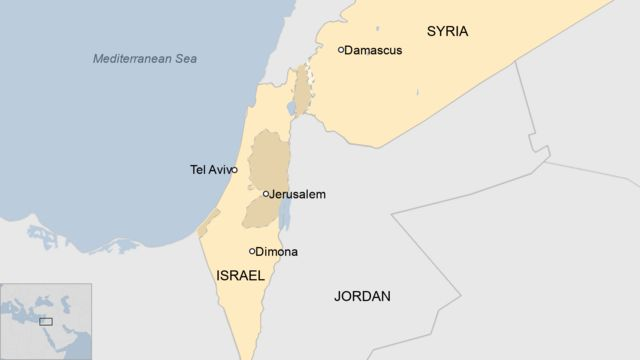 Map showing Israel and Syria