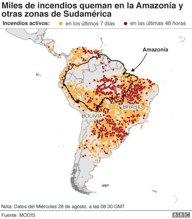 Mapa de los incendios