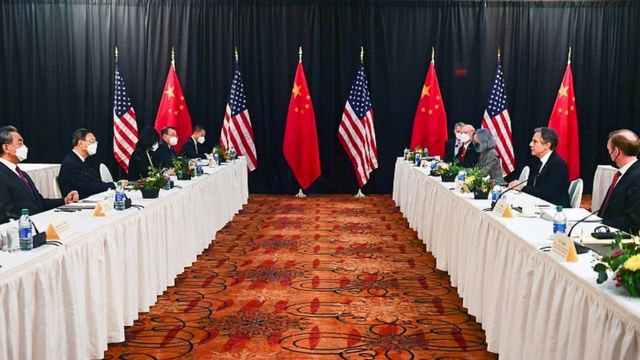 Opening session of US-China talks in Anchorage, Alaska, March 18, 2021