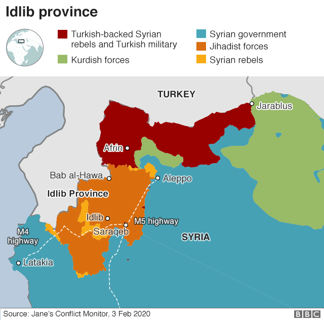 Map showing control of north-western Syria (3 February 2020)