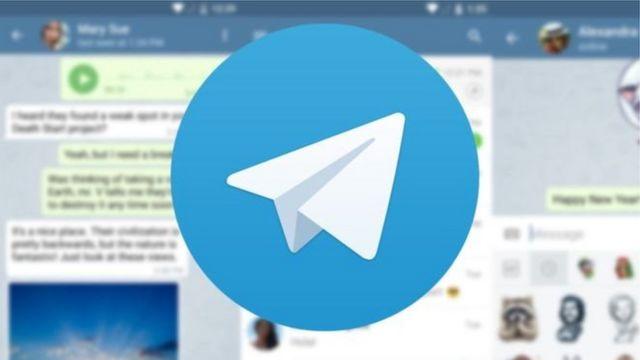 Arte com símbolo do Telegram