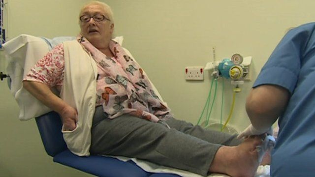 """Jenny Glover had her foot saved at Ysbyty Gwynedd - and says she """"owes the medical team everything""""."""