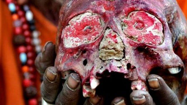 Aghori use human skulls as a bowl