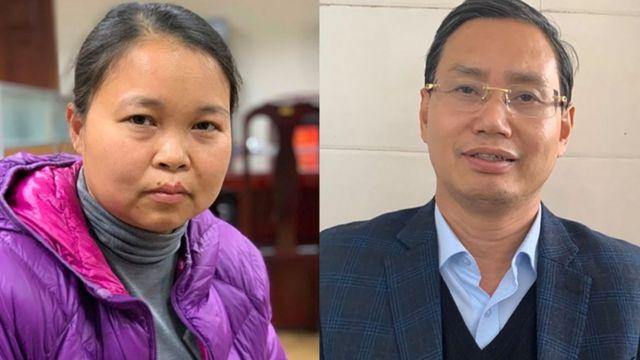 Bị can Phạm Thị Thu Hường (trái) và Nguyễn Văn Tứ (Sở KH&ĐT TP Hà Nội)