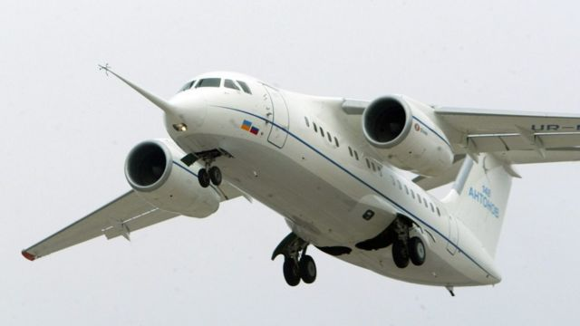An Antonov An-148 airplane takes off from Kiev, Ukraine, 17 December 2004