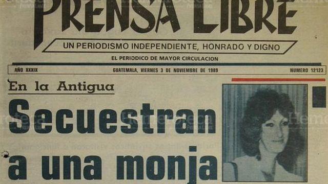Portada diario de Guatemala en día del secuestro