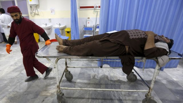 An Afghan man arrives for treatment at a hospital after a suicide car bomb attack in Kabul, Afghanistan on 19 April 2016