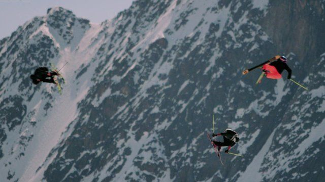 Skiers take part in the routine