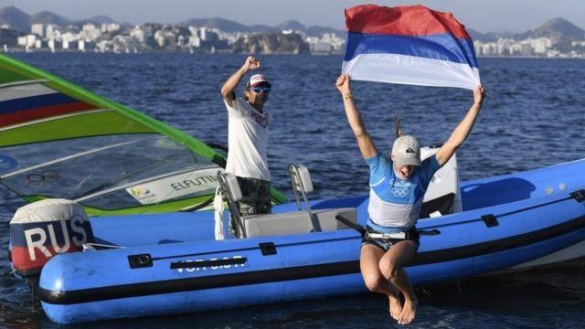 Спортсменка Стефания Елфутина после окончания парусных соревнований в Рио