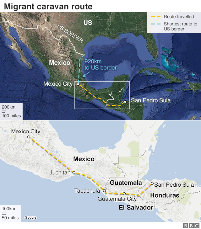 Map depicting the route of the migrant caravan
