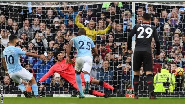 Sergio Aguero dey score against Arsenal