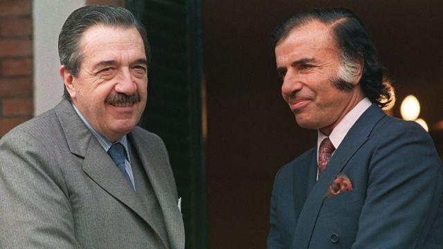 Raul Alfonsin y Carlos Menem
