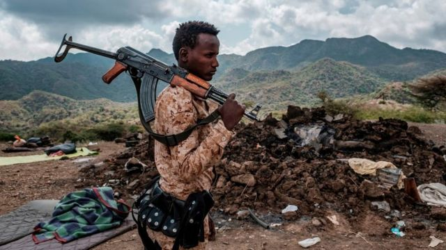 Soldado etíope en la región de Tigray en diciembre de 2020.