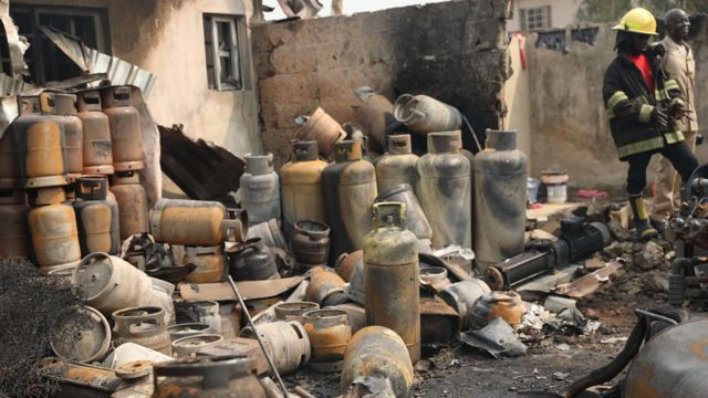 Gas fire for Lagos