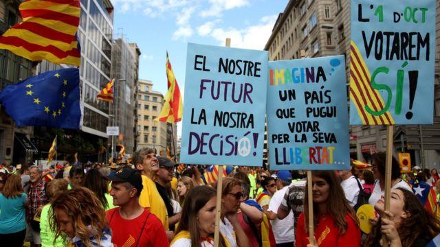 Демонстрация в Барселоне 11 сентября 2017 года
