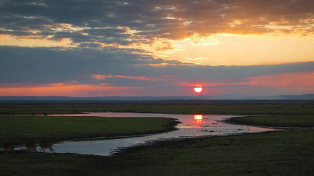 sunset in Gorongosa National Park