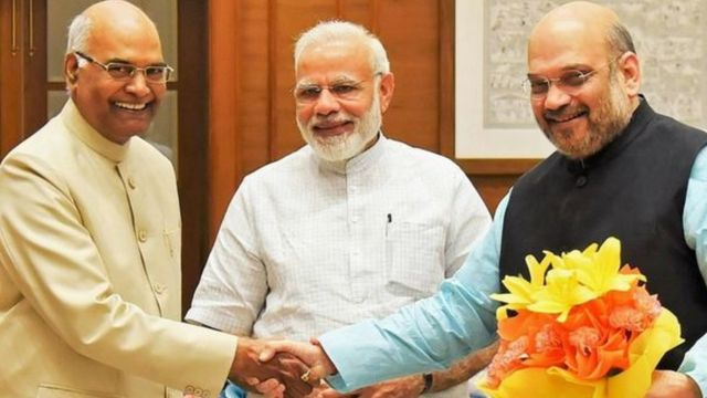 रामनाथ कोविंद, नरेंद्र मोदी और अमित शाह