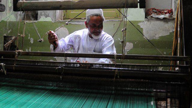 Traditional sari weaver in Varanasi, India